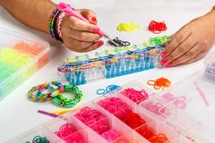 Rubber loom bracelet Stock Images