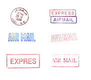 Rubber Mail Stamps. A variety of rubber stamps relating to mailing Vector Illustration