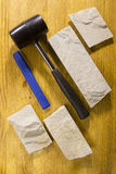 Rubber mallet and chisel Stock Photo
