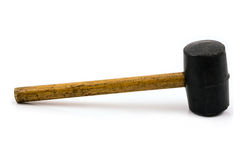 Rubber mallet with wood handle. Isolated on white Royalty Free Stock Photography