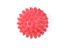 Rubber Massage Ball. Red massage ball isolated with clipping path over white background Stock Photos