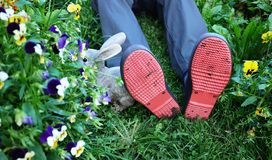 Rubber men`s galoshes. Used for movement in cloudy and rainy weather.  Details royalty free stock image