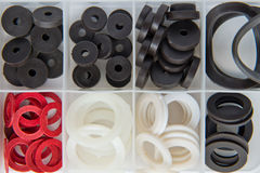 Rubber o-rings for water supply Royalty Free Stock Photos