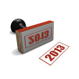 Rubber office stamp indicating year 2013. Rubber stamp with seal reading year 2013 on white background royalty free illustration