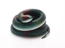 Rubber orm på en vit bakgrund/en rubber orm Arkivbild