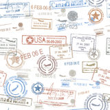Rubber passport stamps travel symbol Royalty Free Stock Photos