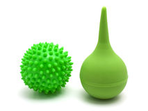 Rubber pear  and green ball Royalty Free Stock Photos