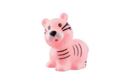 Rubber pink tiger isolated on white Royalty Free Stock Images