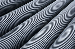 Rubber pipe. Many black Rubber pipe on the ground royalty free stock photos