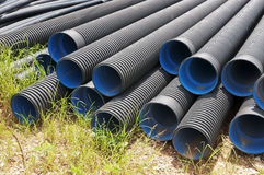 Rubber pipe. Many black Rubber pipe on the ground royalty free stock images