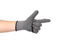 Rubber protective glove like a gun Stock Photos