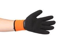 Rubber protective glove orange and black. Stock Image