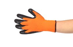 Rubber protective glove orange and black. Royalty Free Stock Image
