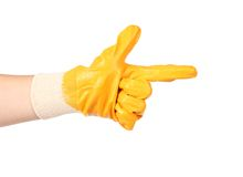 Rubber protective glove show sign like a gun Stock Photography
