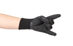 Rubber protective glove shows rock sign. Stock Photography
