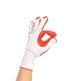 Rubber protective glove shows sign ok Stock Image