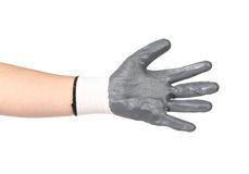 Rubber protective gray glove. Stock Photo