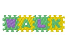Rubber puzzle forming a word walk Stock Image