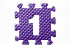 Rubber puzzle with number 1 Stock Images