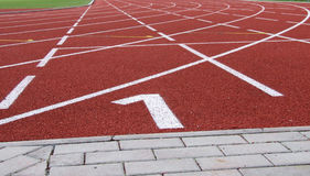 Rubber racecourse at the athlete sports stadium Stock Image