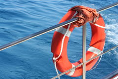 Rubber ring on a boat Royalty Free Stock Images