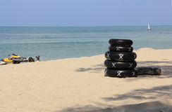 Rubber ring for rent. The rubber rings (as a water sport equipment) for rent at  Samila beach, Songkhla, Thailand Stock Image