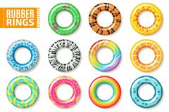 Rubber rings. Swimming inflatable kids toys, float colorful lifesaver ring. Realistic vector set stock illustration