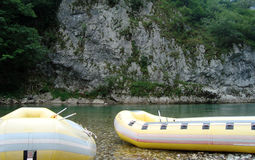 Rubber river rafts Stock Photo