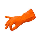 Rubber schoonmakende handschoenen royalty-vrije stock foto