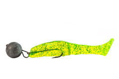 Rubber silicone green fishing bait with plummet and hook isolated on white Royalty Free Stock Image