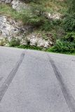 Rubber skid marks from a car crash site Royalty Free Stock Photography