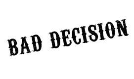 Rubber stämpel för dåligt beslut stock illustrationer