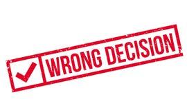 Rubber stämpel för fel beslut royaltyfri illustrationer