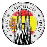 Rubber stämpel för Grunge av Barcelona, Spanien, vektor Fotografering för Bildbyråer
