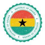 Rubber stämpel för Grunge med den Ghana flaggan Arkivbild