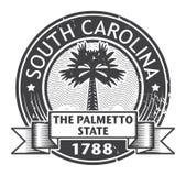 Rubber stämpel för Grunge med namn av South Carolina vektor illustrationer