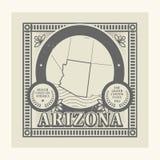 Rubber stämpel för Grunge med namn och översikten av Arizona, USA Fotografering för Bildbyråer