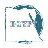 Rubber stämpel för Grunge med namn och översikten av Egypten vektor illustrationer