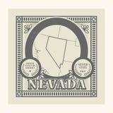 Rubber stämpel för Grunge med namn och översikten av Nevada, USA Royaltyfria Bilder