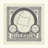Rubber stämpel för Grunge med namn och översikten av Oregon, USA Royaltyfria Bilder