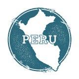 Rubber stämpel för Grunge med namn och översikten av Peru vektor illustrationer