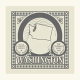 Rubber stämpel för Grunge med namn och översikten av Washington, USA Arkivfoto