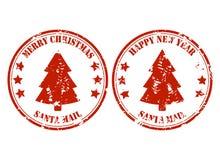 Rubber stämpel för jultomtenstolpepost med xmas-trädet vektor illustrationer