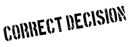 Rubber stämpel för korrekt beslut stock illustrationer