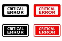Rubber stämpel för kritiskt fel stock illustrationer