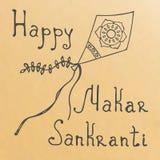 Rubber stämpel för Makar Sankranti grunge på vit bakgrund Arkivfoto