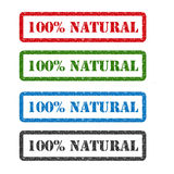 rubber stämpel 100% för naturlig uppsättning som isoleras på bakgrund vektor illustrationer