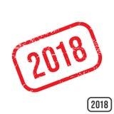 Rubber stämpel för nytt år 2018 med grungetexturdesign Vektor Illustrationer