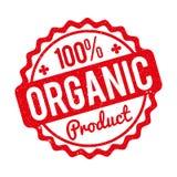 Rubber stämpel för organisk produkt som är röd på en vit bakgrund Fotografering för Bildbyråer