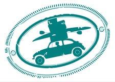 Rubber stämpel med bilen som går på ferier stock illustrationer